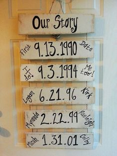 OUR STORY - Important DATES wood sign - First Date, Engagement Date, Wedding…