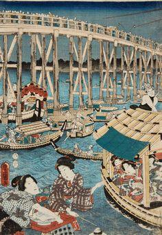 Utagawa Kunisada (1786-1865) Utagawa Kunisada (1786-1865) Ôban triptych. Title: Tôto Ryôgoku kawabiraki no zu. Pleasure boats on the river during the river opening fireworks. Signed: Toyokuni ga in toshidama cartouche. Publisher: Kiya Sôjirô. Censor: aratame. Date: 5/1856. Very good impression, colours slightly faded, partially strongly rubbed and soiled, backed.