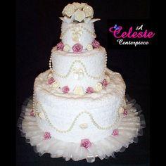Towel Cakes by Celeste Towel Cake Centerpieces Wedding Bridal Showers Baby Diaper