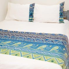 Duvet Covers ~ Artisans' Gallery Designs Double $240.00 USD Duvet cover and pillowcases in 100% cotton material, inlaid with beautiful hand-painted fabric strip in Tribal Textiles' flagship Artisan's Gallery design, featuring a scenic blue and turquoise colourway. #TribalArtisansGallery #TribalTextiles