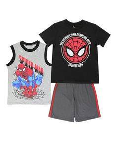 923467b873 superhero · Another great find on  zulily! Spider-Man Gray Muscle Tank Set  - Boys