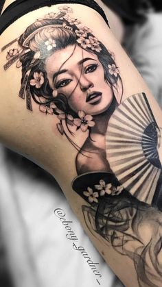 Tattoo Geisha - All Fashion Ideas Here! Geisha Tattoos, Geisha Tattoo Design, Irezumi Tattoos, Leg Tattoos, Body Art Tattoos, Geisha Tattoo Sleeve, Samurai Tattoo Sleeve, Buddha Tattoo Design, Male Tattoo