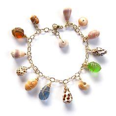 Charm Bracelet, Hawaiian Shells, Colorful Sea Glass, Hawaii Beach Jewelry, Summer Fashions, OOAK. $70.00, via Etsy.