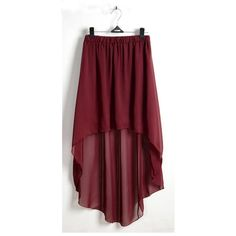 Red Irregular High-Low Elastic Waist Chiffon Skirt ($23) ❤ liked on Polyvore featuring skirts, short front long back skirt, red hi low skirt, high-low skirts, mullet skirt and high low chiffon skirt