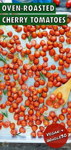 6 reviews · 25 minutes · Vegan Gluten free Paleo · Serves 6 · Oven-Roasted Cherry Tomatoes are tossed in olive oil and crushed garlic for a quick, easy, and healthy addition to any pasta, baguette, or grilled chicken recipe. This roasted tomatoes recipe can be… Oven Roasted Cherry Tomatoes, Roasted Tomato Basil Soup, Vegan Bruschetta Recipe, Pomodoro Sauce Recipe, Shrimp Pasta Dishes, Easy Homemade Salsa, Healthy Spring Recipes, Spring Soups, Fresh Tomato Recipes