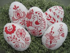 Hand stitched Easter Eggs /Bowl Fillers /Hungarian Folk Embroidery /Easter Decor