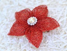 Red poinsettia hair clip/brooch  Holiday by vipcreationstation, $10.00