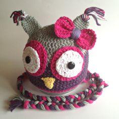 Crochet Girl Owl Hat Pink Purple Gray Photo Prop por PinkLemonKnits