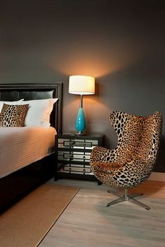 Black Bedroom WIth Leopard Chair