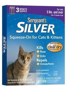 Feeding and Watering 63116: Sergeant Sandreg: Silver Flea And Tick Squeeze-On Cat Kitten 5Lb+ 3 Count Case P ... -> BUY IT NOW ONLY: $118.38 on eBay!