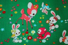 1m RETRO ANIMALS green bambi rabbit Japan kawaii from nao's handicraft box by DaWanda.com