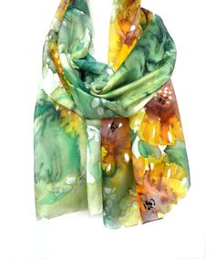 Hand Painted Silk Scarf 18x71in (45x180cm)