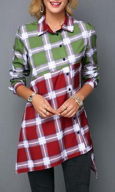6d80a627c6 Button Front Asymmetric Hem Plaid Print Shirt .When it gets cold