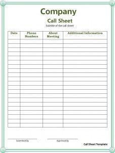 Call Sheet Template Templates Word Template Templates