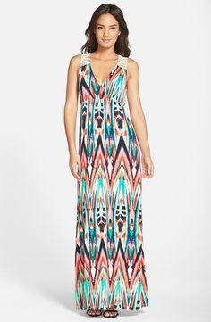 Crochet Back Jersey Maxi Dress (Petite) (Nordstrom Exclusive)