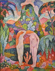 Jean Metzinger, c.1905, Baigneuse, Deux nus dans un jardin exotique (Two Nudes in an Exotic Landscape), oil on canvas, 116 x 88.8 cm, Colección Carmen Thyssen-Bornemisza[19][20]