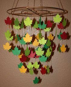 leaf mobile leaf art with leaves Leaf Crafts, Crafts To Do, Crafts For Kids, Arts And Crafts, Paper Crafts, Diy Crafts, Autumn Crafts, Autumn Art, Nature Crafts