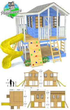 A two story, interactive playhouse plan you possibly can obtain and begin constructing this weekend! Includes a wrap round porch, quite a few space so as to add equipment, glass shed home windows and gable[. Backyard Playhouse, Build A Playhouse, Backyard Playground, Kids Playhouse Plans, Children Playground, Playground Design, Kids Outside Playhouse, Treehouse Kids, Backyard Playset