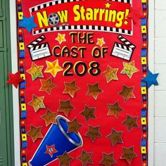 "I think it would be cute to have their name tags for the day on here and they find them? I like the theme of ""Now Starring"" and Hollywood, but this board is too busy and too RED. I'd tone it down a bit. Hollywood Bulletin Boards, Welcome Bulletin Boards, Hollywood Theme Classroom, Classroom Bulletin Boards, Classroom Door, Star Themed Classroom, Classroom Themes, Classroom Activities, Red Carpet Theme"