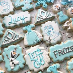 Image may contain: 2 people, food Elsa Birthday Party, Frozen Themed Birthday Party, Girl Birthday Themes, 3rd Birthday Parties, 2nd Birthday, Birthday Ideas, Disney Cookies, Frozen Cookies, Olaf Cookies