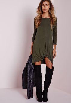 ae48e814b5 Missguided - Petite Knot front Long Sleeve Dress Khaki Khaki Dress