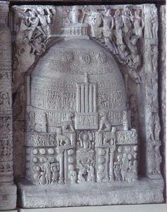 Frieze, from Amaravati, depicting the Amaravati stupa., Amaravati, Andhra Pradesh