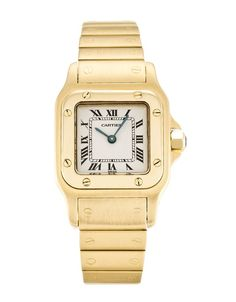 This is a pre-owned Cartier Santos W20010C5. It has a 24mm Yellow Gold case, a White Roman Numeral dial, a Yellow Gold bracelet, and is powered by a Quartz movement.