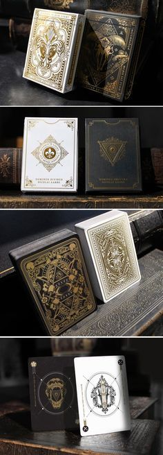 Dominus Playing Cards by Nicolai Aarøe 2 limited ed. decks with deluxe feature… Dominus Playing Cards by Nicolai Aarøe 2 limited ed. decks with deluxe features and gold foiled, embossed tucks. II in the 'Light vs. Cool Playing Cards, Playing Card Box, Playing Card Games, Playing Card Design, Bicycle Cards, Board Game Design, Deck Of Cards, Card Deck, Box Design