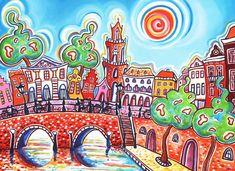 1001 Kleuren.nl, schilderijen van Eveline Bouwkamp: Utrecht Centrum dag