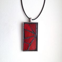 "Gorgeous abstract style red stained glass mosaic pendant. Silver-plated base with 18"" waxed cotton cord. Hand created by NiagaraGlassMosaics on Etsy"