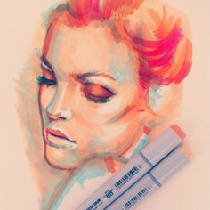 I dream of creating artwork without using any neutral colors at all :) By… Copic Marker Art, Copic Art, Copic Markers, Sketchbook Inspiration, Art Sketchbook, Chiara Bautista, Otto Schmidt, Portrait Art, Portraits