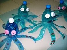 - id like to have the kids add mustaches and tie it into the book- Im the best artist in the ocean Water Bottle Crafts, Plastic Bottle Crafts, Plastic Bottles, Kids Crafts, Summer Crafts, Diy And Crafts, Recycled Art Projects, Recycled Crafts, Ocean Crafts