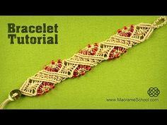 Macramé Diamond Stripe Bracelet Tutorial by Macrame School - YouTube