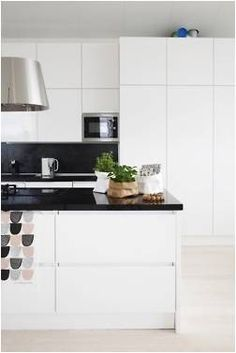 White Kitchen No Handles white cupboards with black benchtops. | kitchens | pinterest
