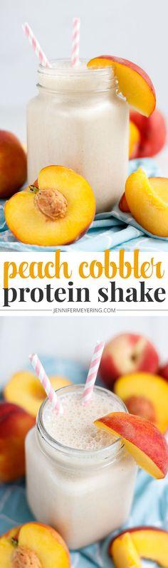 Peach Cobbler Protein Shake - JenniferMeyering.com