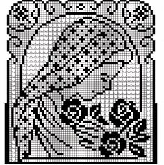 Learn to knit and Crochet with Jeanette: Crochet Picture - Stola Stricken Filet Crochet Charts, Crochet Cross, Crochet Home, Thread Crochet, Crochet Doilies, Crochet Stitches, Knit Crochet, Crochet Patterns, Crochet Tablecloth