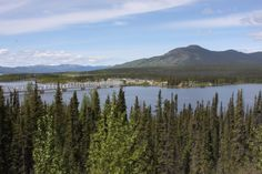 Another view of the bridge to Johnson's Crossing, Yukon, as seen from the rest stop on the hill above it.  Alaska Highway.  06/2013.