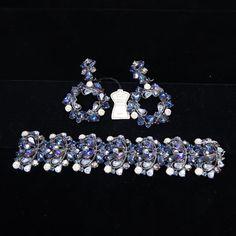 """<b>Schiaparelli 2pc. Blue Bracelet & Clip Earrings</b> 2"""" bracelet width   7"""" bracelet length"""