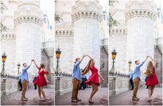 Disney Engagement Photos - Photography - Walt Disney World Couple - Pictures at Cinderella Castle Magic Kingdom - Florida Photographer - Rachel Branham Photography -