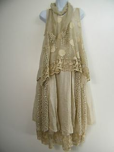 LAGENLOOK  ITALIAN 100/% COTTON LACY  KAFTAN STYLE  OVER TOP IN 6 COLS SIZE 12-20