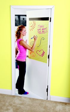 Dry-erase decal turns the #dorm door into a place for recording your deep thoughts -- or a note reminding your roommate it's her turn to clean.