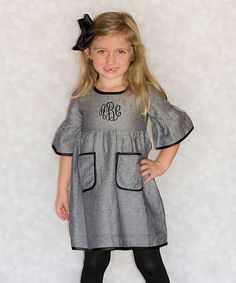 Look what I found on #zulily! Black & Silver Monogram Dress - Toddler & Girls by Princess Linens #zulilyfinds