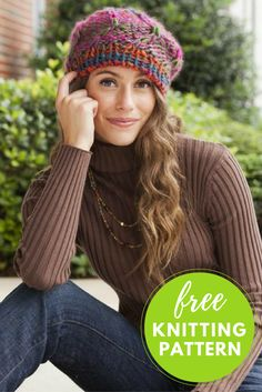 """A Little to the Left Hat Free Knitting Pattern  One skein project! Knitted from the top down,A Little to the Left is a  swirling slouchy hat featuring Classic Shades Big Time yarn. Designed by  Amy Gunderson.  Size:Adult (one size fits most)  Completed Hat Measures:Brim 17"""" (unstretched) x 9½"""" high  You will need:      * 1 ball Universal Yarn Classic Shades Big Time yarn, shown in Tutti       Frutti #805     * Size US 15 double pointed needles     * Size US 11 double pointed needles…"""