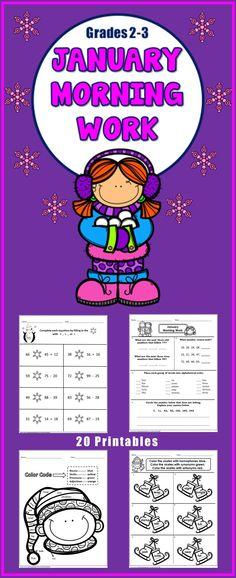 20 No Prep Morning Work Math and Literacy Printables - grades 2-3