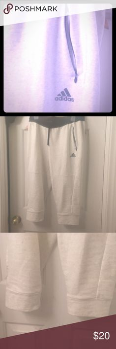 Adidas nwot cropped sweats Sz med!! Adidas light gray cropped sweat pants gotta love 'em!! Size medium women's these crops feature two pockets, one on each side, and drawstring. So cute it hurts. A little too small for me. My loss so come check out the rest of my closet too I love to bundle and share the discount! 👌✨ adidas Pants Ankle & Cropped