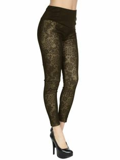 $12.99 nice Sexy Leggings with Antique Inspired Floral Detail, Faux Fur Lining, Poly, Taupe