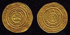 Description: Crusader imitation Gold Dinar or Bezant struck during the time of the Fatimid Caliph al-Amer Bi-Ahkam Allah. This gold coin is an imitation of al-Amer dinar. al-Amer is referred to as al-