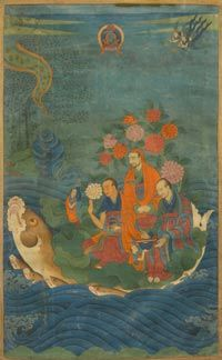 Arhats: A Thanka depicting Rahula, Ajita and Pindoal-Bharadvaja crossing the ocean on a fish. Tibet, 18th C.