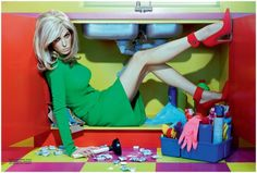 Vintage-Inpired: 'Home Chic' editorial by Miles Aldridge for Vogue Italia, October 2011