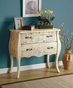 #scripted case Accent #cabinet scalloped apron, brass hardwood and distressed finish. Perfect accent for any home #mhf
